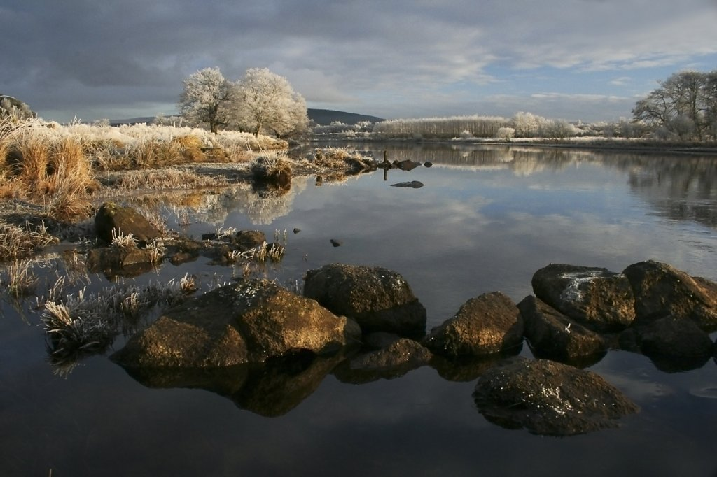 """""""Below the fence 2"""", River Spey at Broomhill."""